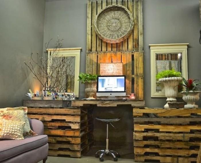 Bureau en palette mod les diy et tutoriel pour le - Fabriquer un bureau avec des palettes ...
