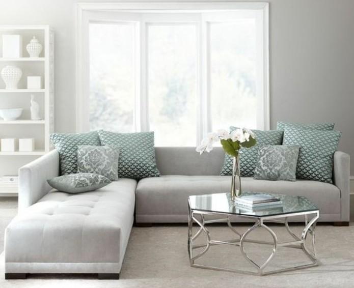 Un salon en gris et blanc c 39 est chic voil 82 photos qui - Peinture couleur salon ...