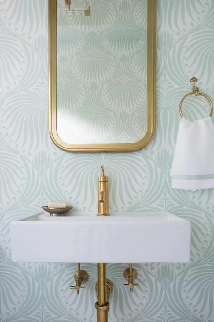 vasque-suspendue-rectangulaire-miroir-encadre-dore