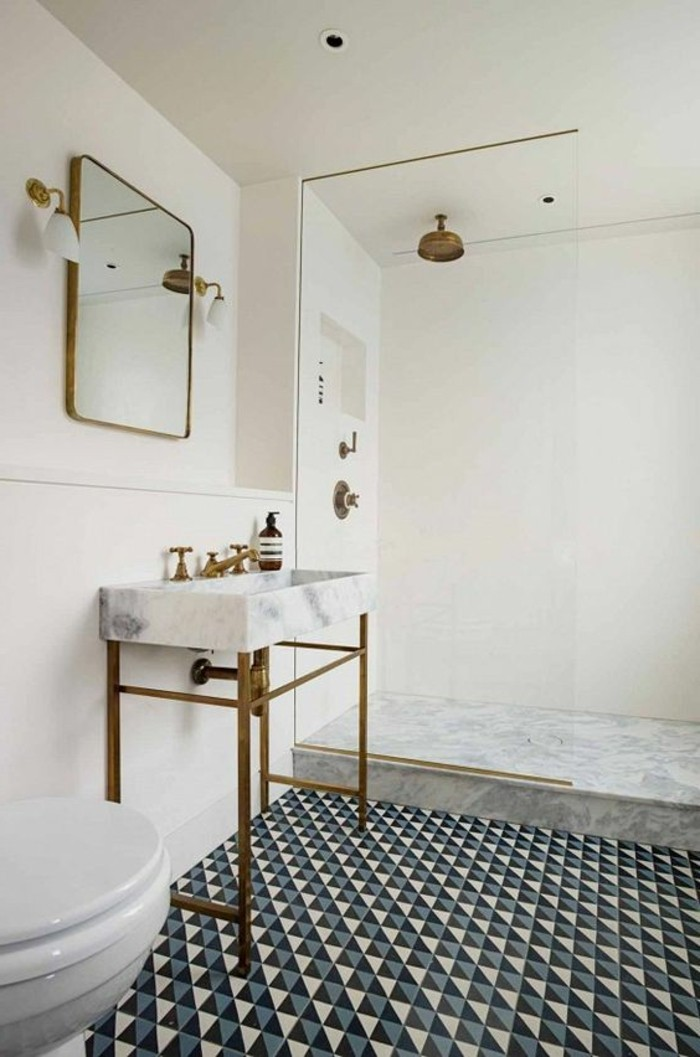 vasque-suspendue-vintage-blanche-carrelage-damier