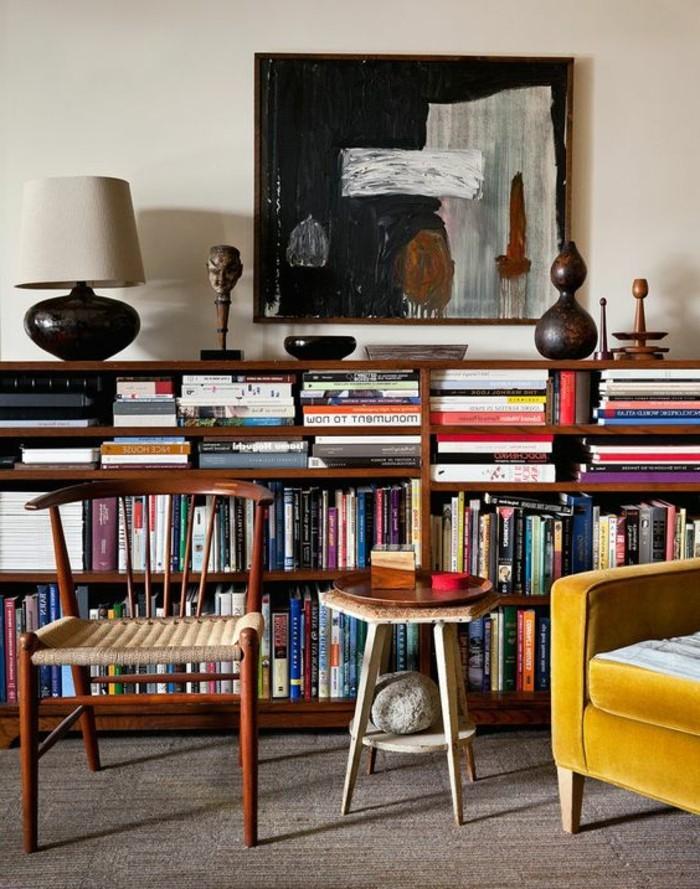 etagere-basse-fauteuil-jaune-chaise-vintage-deco-mid-century
