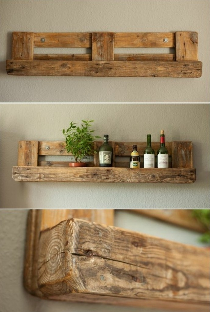 Tag re en palette de bois une bouff e d inspiration for Deco etagere murale salon
