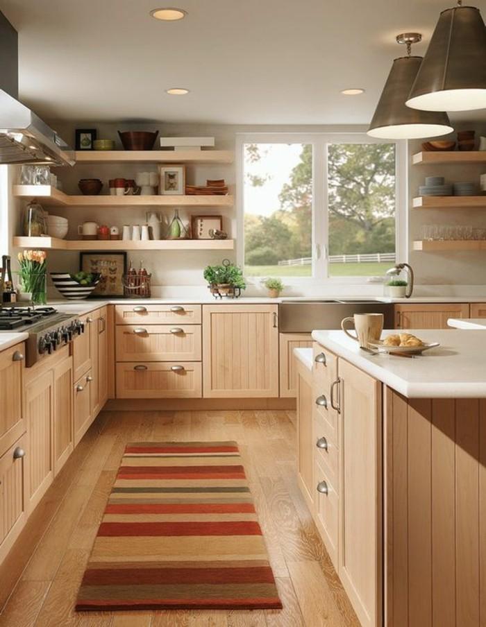 Agréable Couleur De Mur De Cuisine #3: 1-magnifique-cuisine-meubles-en-bois-clair-parquet-chene-massif-clair-tapis-coloré-1.jpg