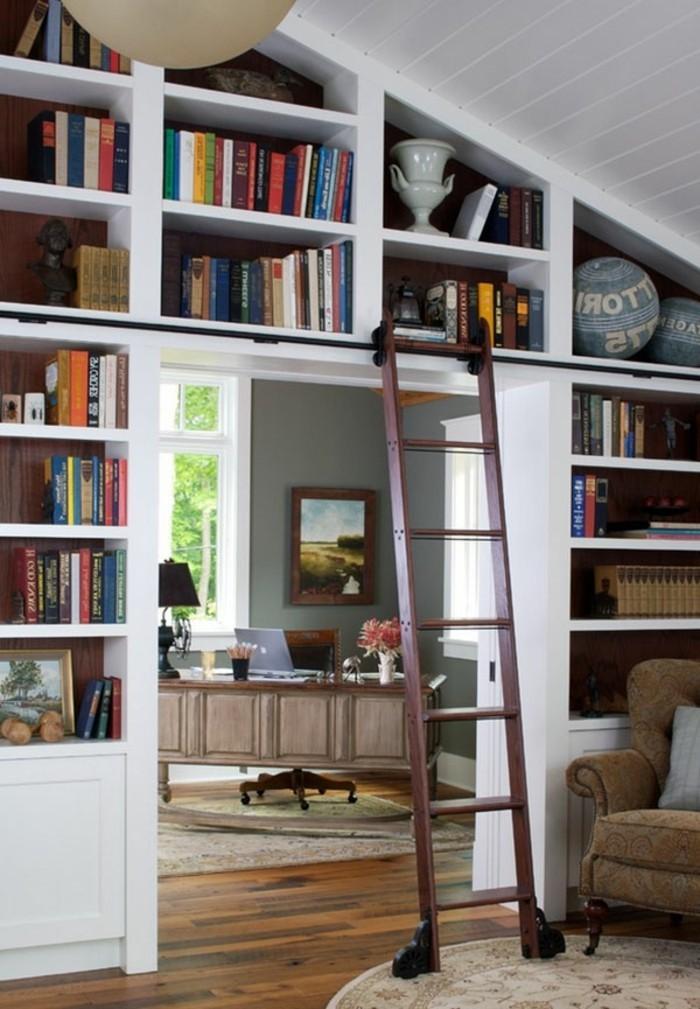 La biblioth que murale en 65 photos inspirantes - Echelle coulissante pour bibliotheque ...