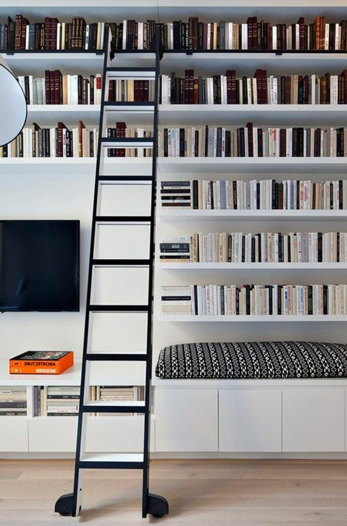 la biblioth que murale en 65 photos inspirantes. Black Bedroom Furniture Sets. Home Design Ideas