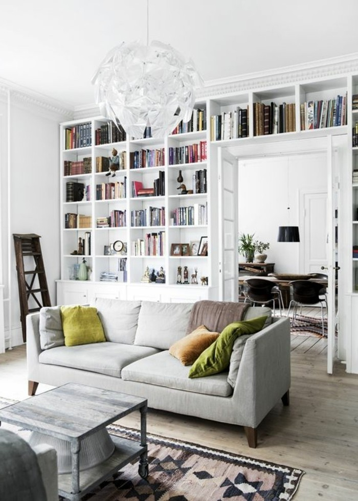 La biblioth que murale en 65 photos inspirantes for Deco salon bibliotheque