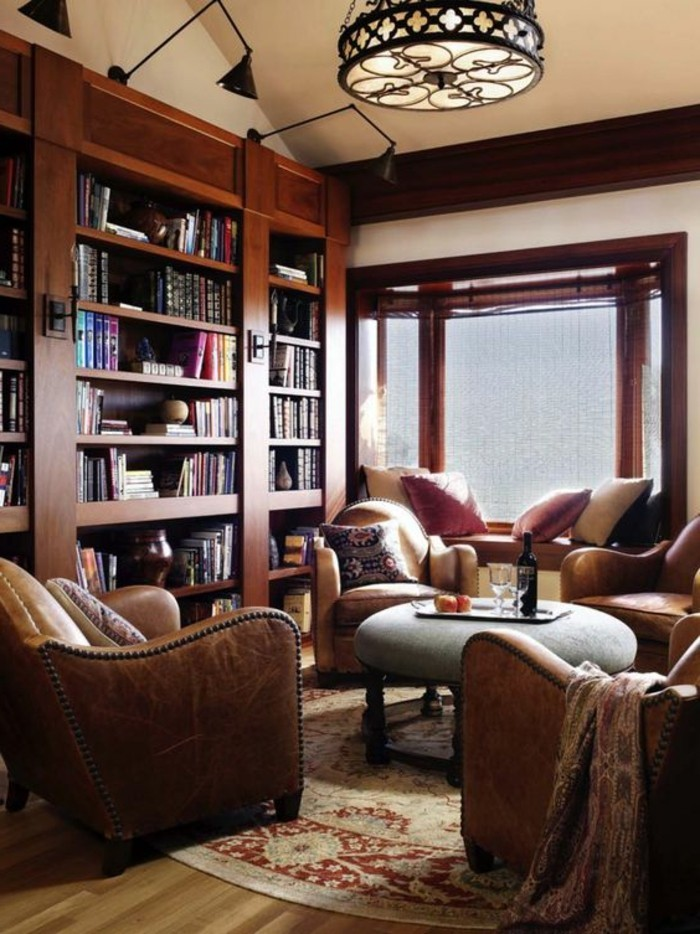 bibliotheques-meubles-coin-lecture-fauteuils-marrons