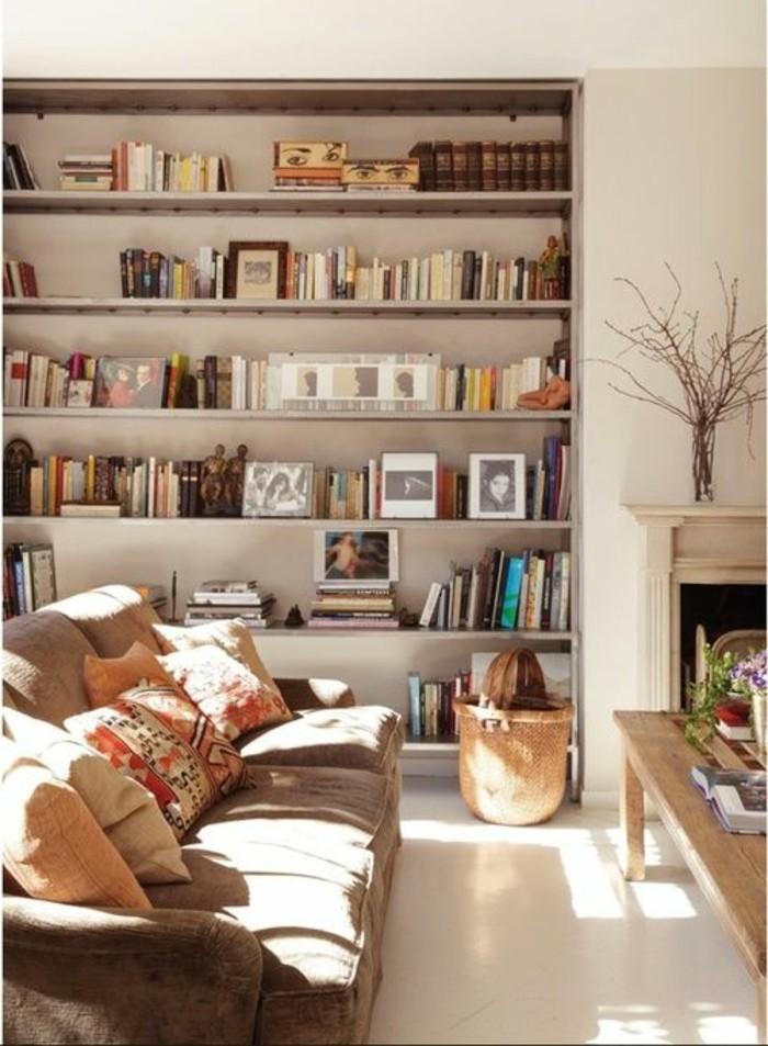 La biblioth que murale en 65 photos inspirantes for Meuble salon beige