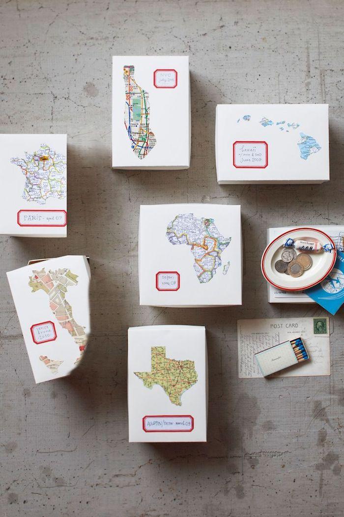 diy boîte à souvenirs de voyages avec une carte du continent ou le pays visité, cadeau voyage idee pour sa meilleure amie