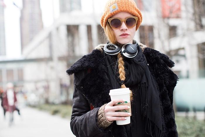 bonne-femme-orange-chine-hipster-fille-hiver-mode