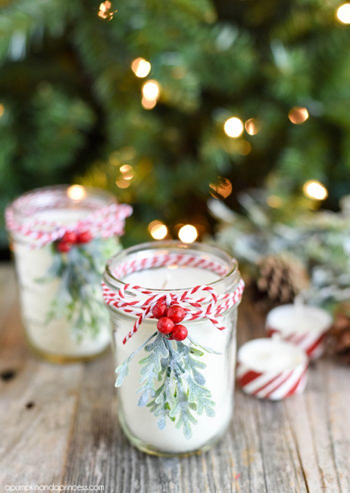 cadeau de noel fait maison bougies a faire soi meme avec cire de soja et menthe poivrée deco noel originale
