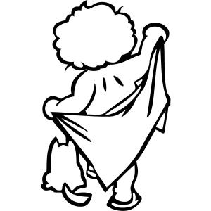 Petit garçon avec une serviette - stickers carrelage charmants