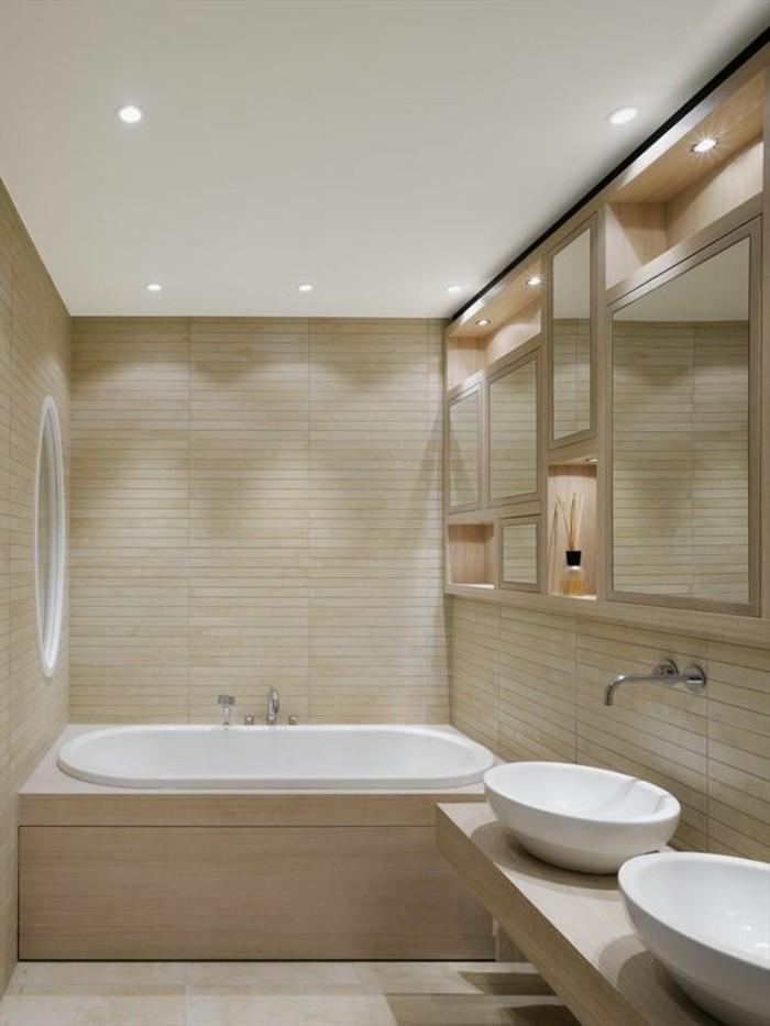 carrelage-taupe-deux-vasques-ovales-blanches-baignoire-encastree