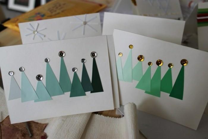 carte-de-noel-a-fabriquer-originale-idee-des-arbres-de-noel-en-papier-colles-sur-un-bout-de-papier