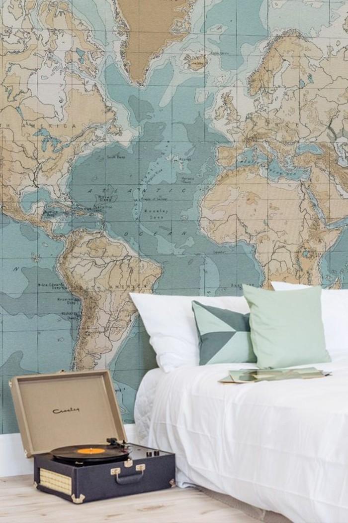 carte-du-monde-vintage-chambre-a-coucher-tourne-disque-vinyle
