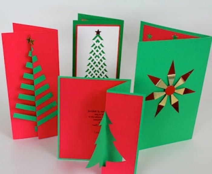 cartes-de-noel-a-fabriquer-soi-meme-superbes-idees-de-cartes-en-vert-et-rouge-a-motifs-differents