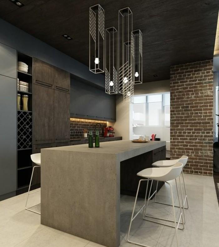chaise-de-cuisine-moderne-comptoir-gris-de-cuisine