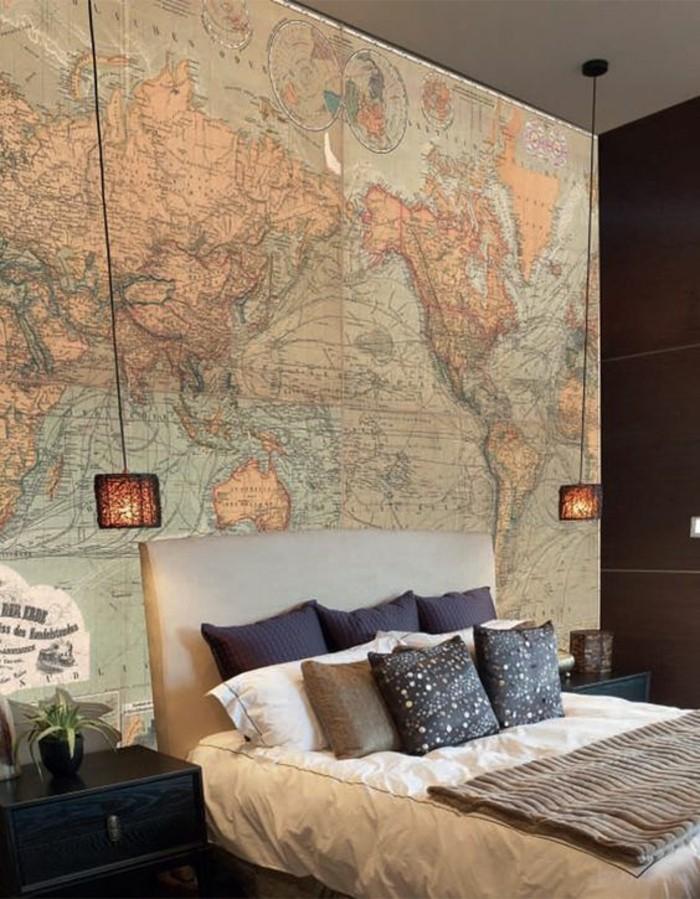 chambre-a-coucher-originale-poster-carte-du-monde-vintage