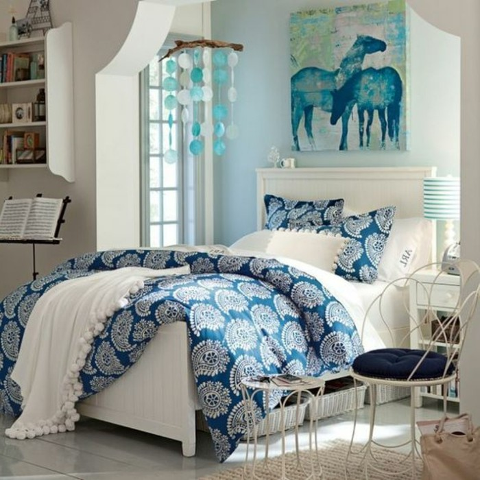 affordable with chambre bleu pour fille. Black Bedroom Furniture Sets. Home Design Ideas