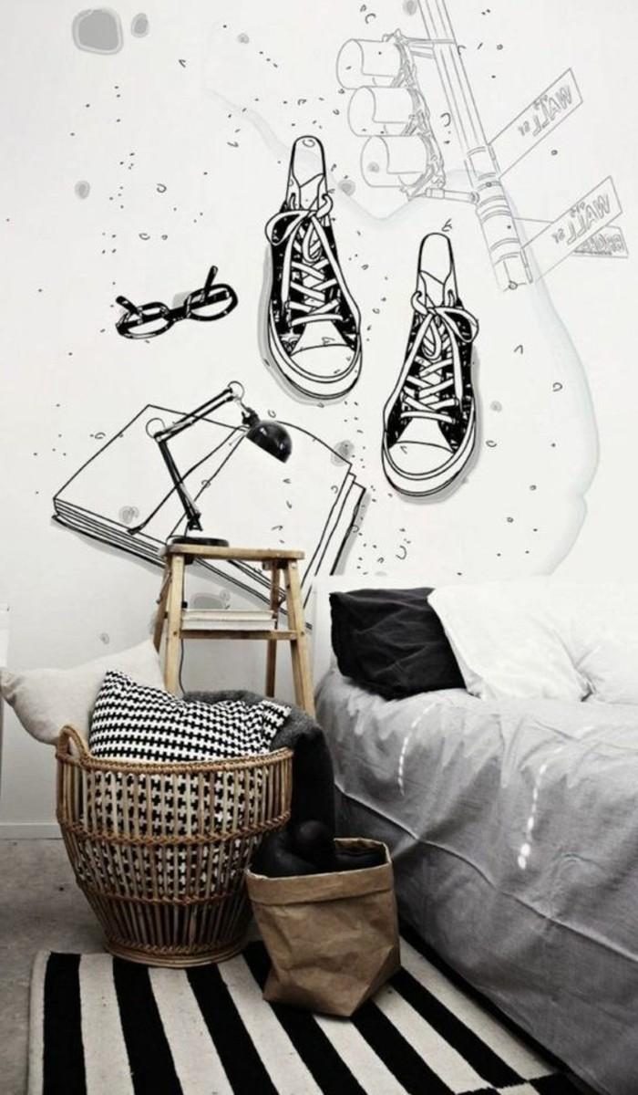chambre-moderne-ado-garcon-sticker-mural-original-tapis-a-rayures