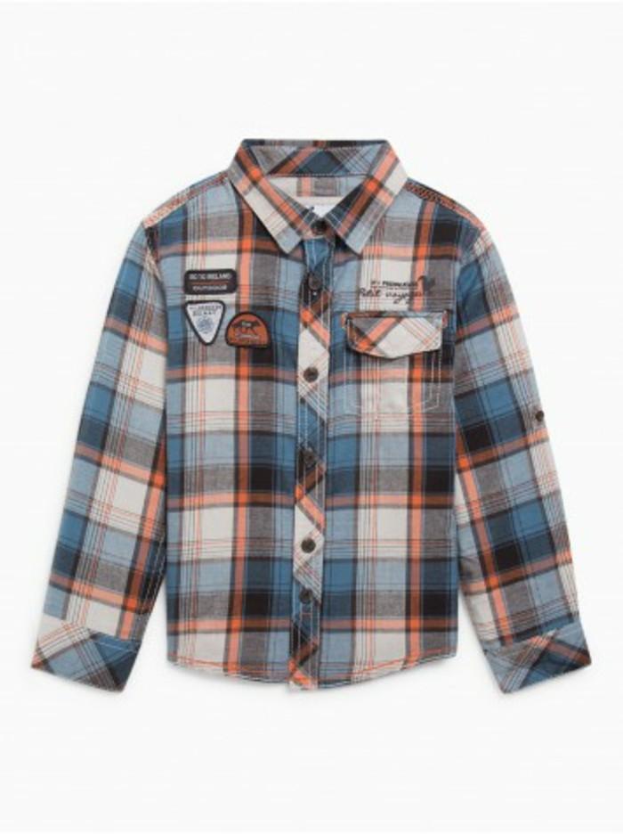 chemise-a-carreaux-enfant-la-halle-en-orange-et-noir-resized