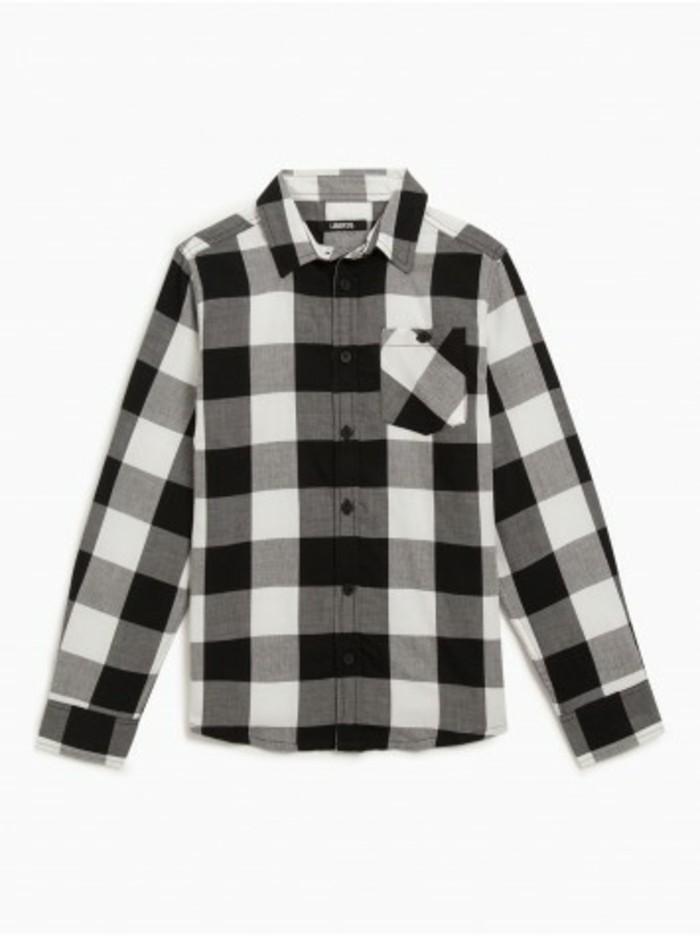 chemise-a-carreaux-enfant-la-halle-gros-motifs-en-noir-et-blanc-resized