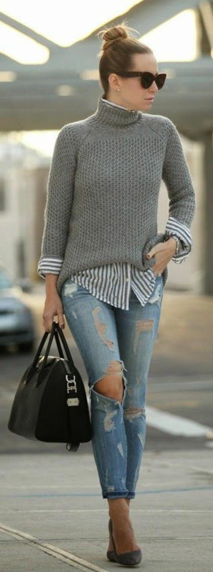 chemise-dessous-pull-chaud-femme-gris-jean-troue