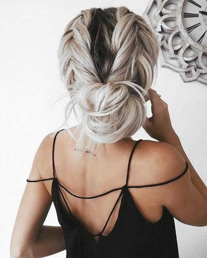 chignon-facile-coiffure-avec-deux-tresses-idees-coiffures-cheveux-longs