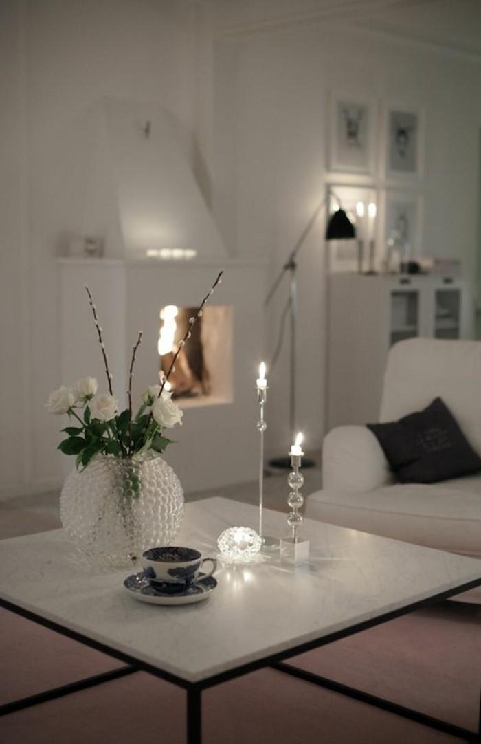 Table basse en marbre 58 id es pour donner du style au salon - Marbre noir et blanc ...