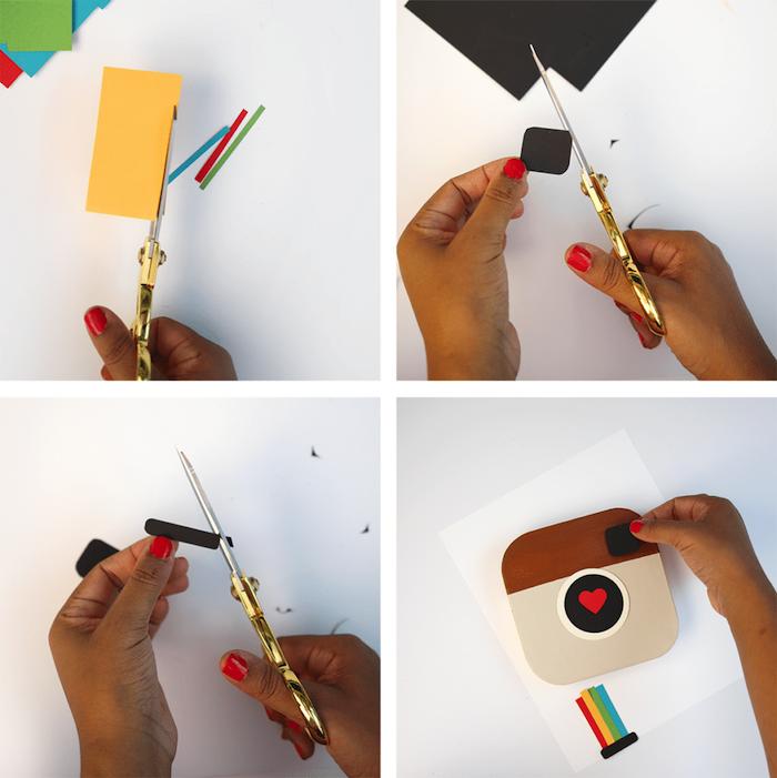 cadeau de noel fait maison, boite de papier cartonné customisé de papier coloré à motifs instagram, cadeau original pour sa meilleure amie