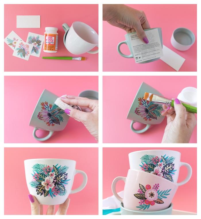 cadeau a faire soi meme pour un anniversaire ou la fete des meres, tasse à thé customisé de tatouage temporaire collé dessus