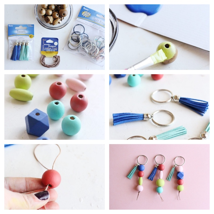 fabriquer un porte clé diy en perles de bois colorés sur un fil, exemple diy cadeau homme pour son chéri ou copain