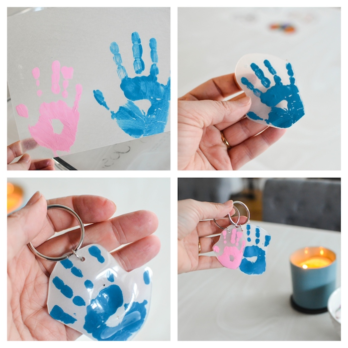 idee cadeau fete des peres a fabriquer, empreinte de main bébé colorées transformées en porte clé diy