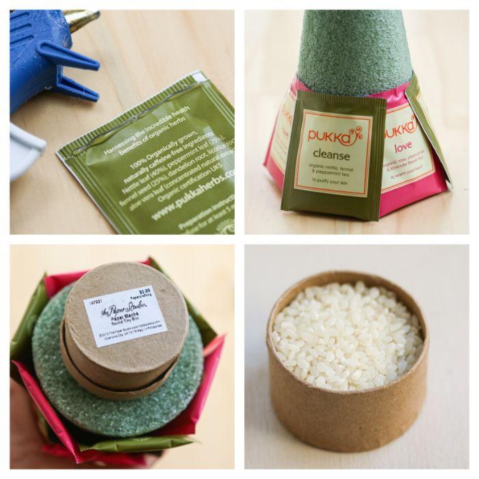 comment faire un sapin de noel diy cadeau de noel avec mousse florale sachets de thé riz