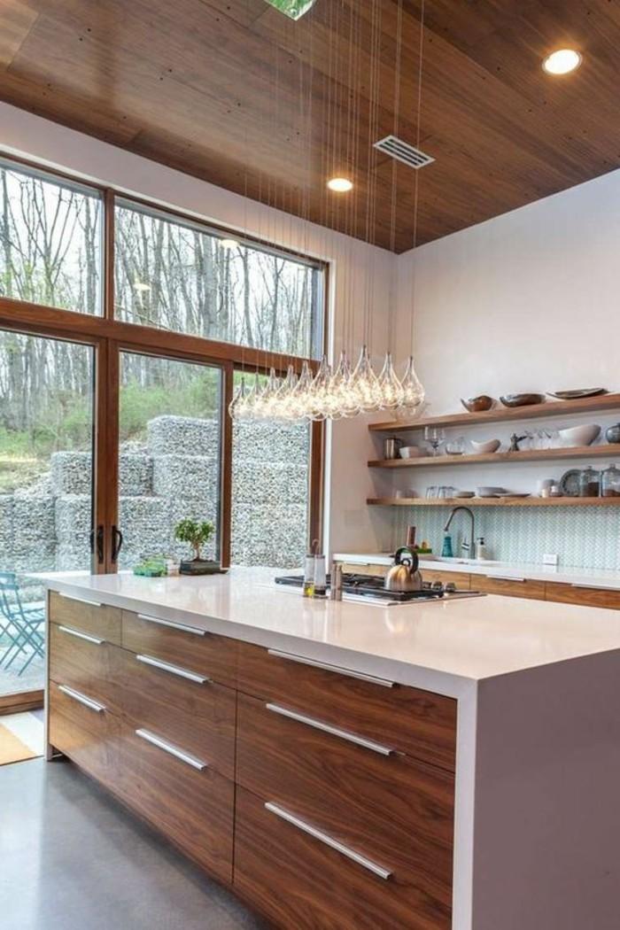 La cuisine quip e avec ilot central 66 id es en photos - Cuisine bois et blanc ...