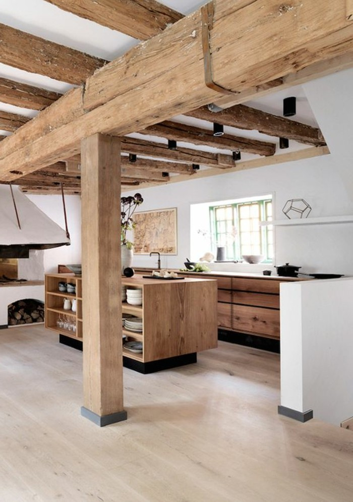 cuisine-equipee-avec-ilot-central-cuisine-style-grange-spacieuse