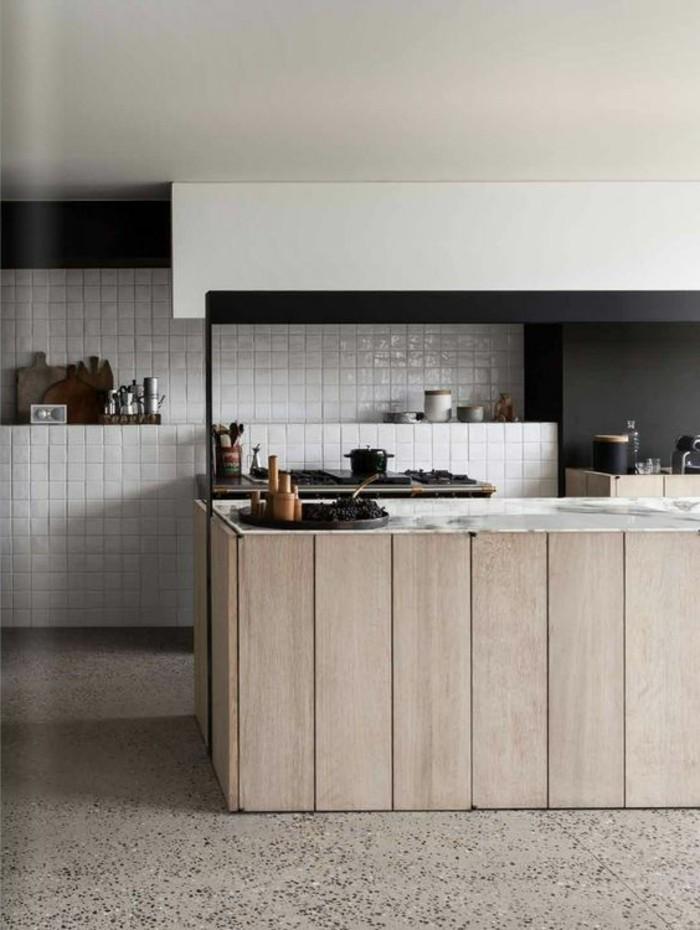 La cuisine quip e avec ilot central 66 id es en photos for Cuisine equipe noir