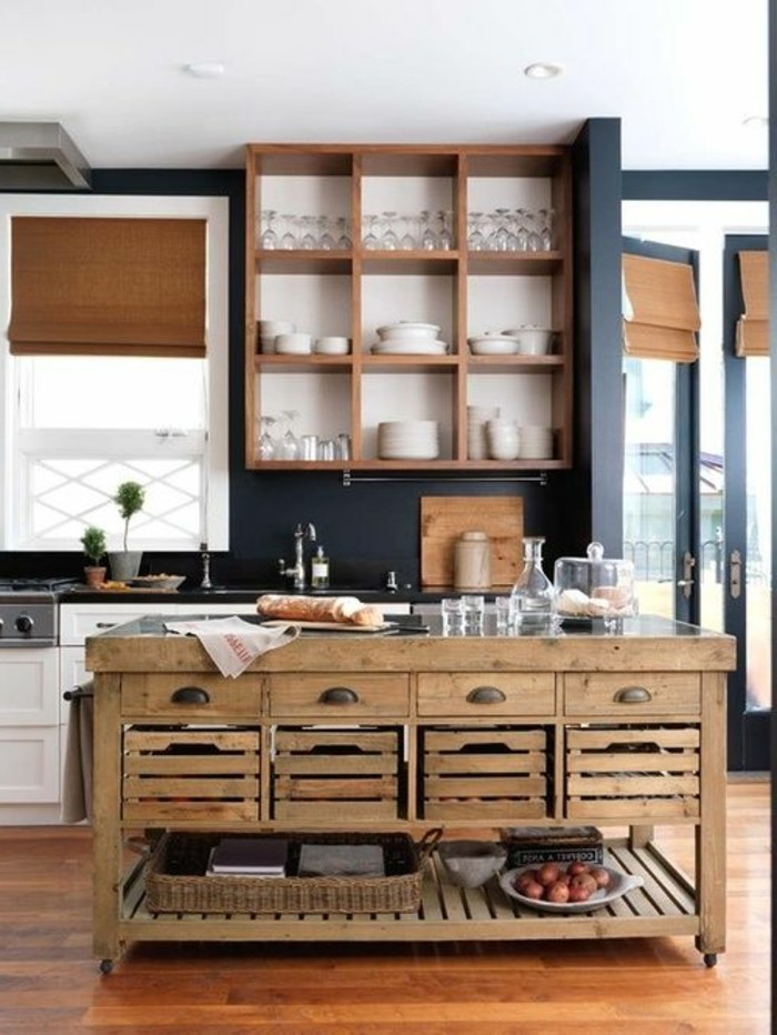 la cuisine quip e avec lot central 66 id es en photos. Black Bedroom Furniture Sets. Home Design Ideas
