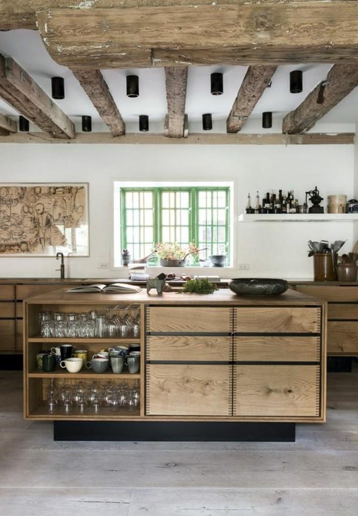 cuisine-equipee-avec-ilot-central-poutres-apparentes-ilot-en-bois
