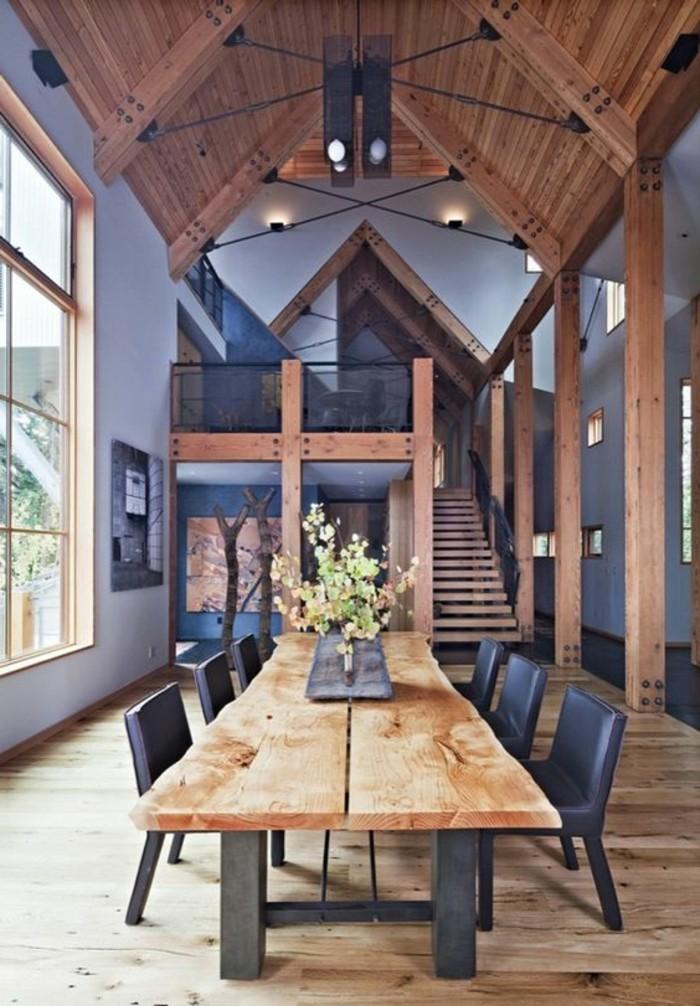 cuisine-plafond-haut-mebles-en-bois-table-a-manger-bois-brut-parquet-massif-chene