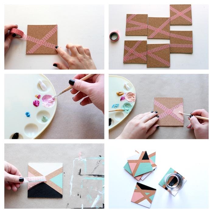 dessous de verre customisé motifs géométriques peints avec de la peinture de couleurs variées, cadeau pour son copain diy