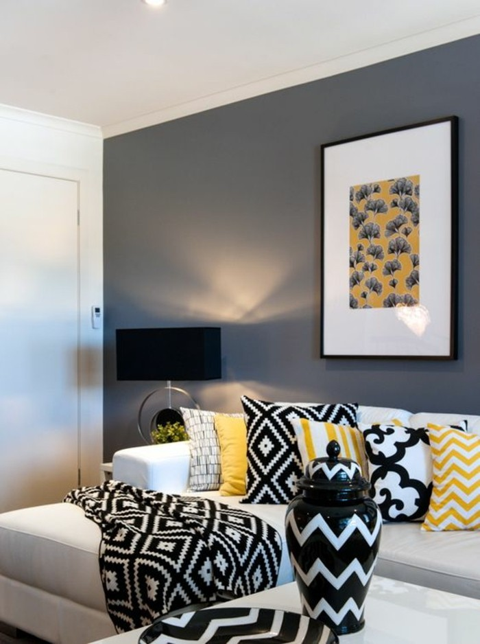 black white yellow living room ideas la couleur jaune moutarde nouvelle tendance dans l 24594
