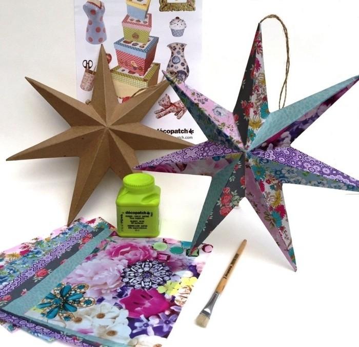 decoration-de-noel-a-fabriquer-etoiles-en-papier-decore-de-differents-motifs-papier-decopatch-suggestion-tres-jolie
