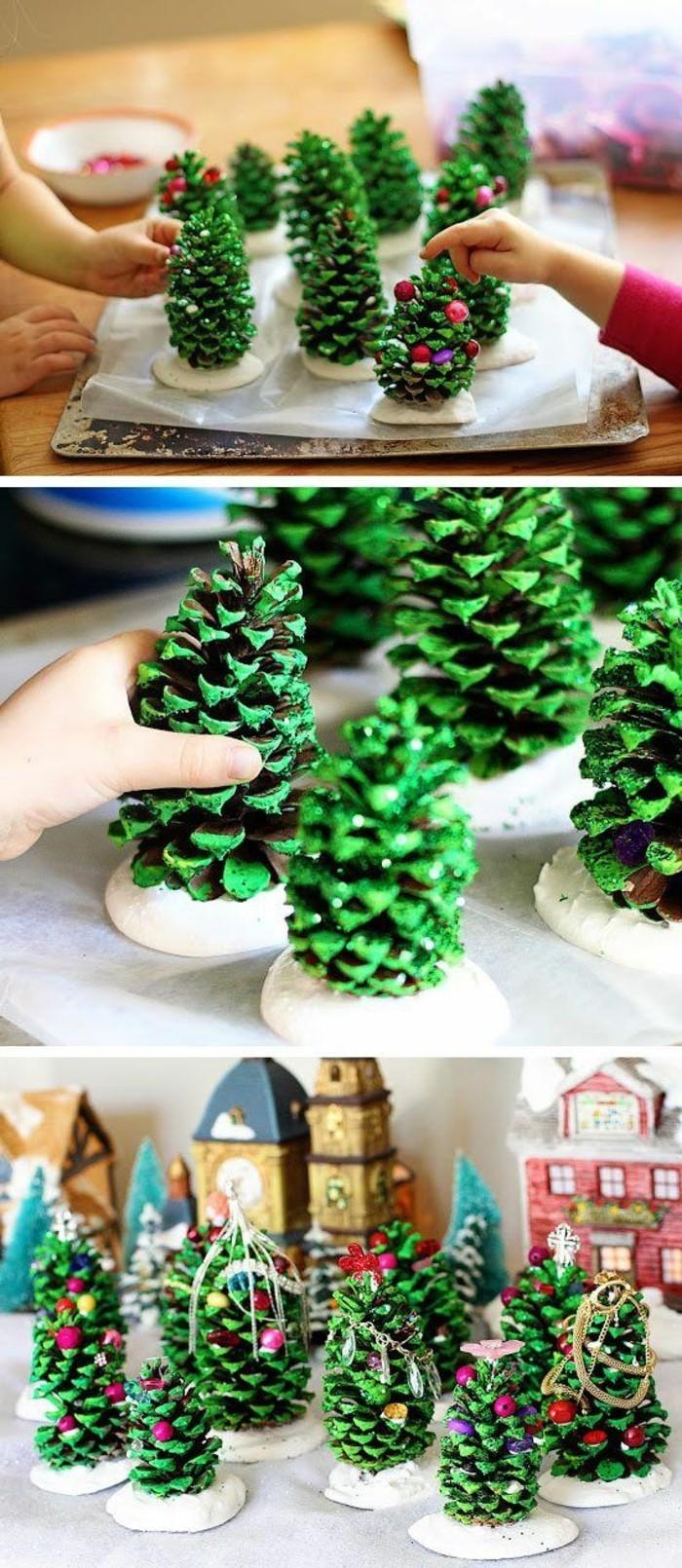 des-pommes-de-pin-peintes-en-couleur-verte-decorer-de-petites-boules-de-differentes-couleurs-deco-noel-a-fabriquer-soi-meme