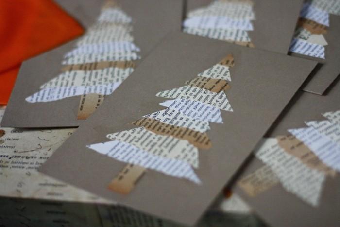 des-sapins-de-noel-de-papier-texte-appliques-sur-des-cartons-idees-cartes-de-noel-a-faire-soi-meme