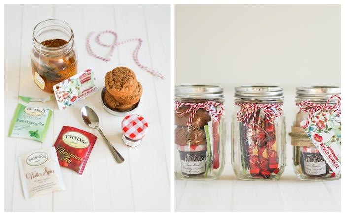 cadeau pour son copain, exemple de cadeau diy, pot en verre renfermant des sachets de thé, cookies et mini pot de confiture pour la pause thé