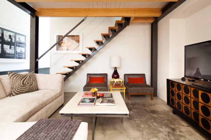 escalier-modulaire-maison-moderne-escalier-droit-grande-table-blanche
