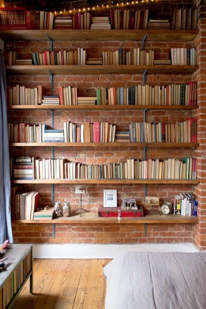 La biblioth que murale en 65 photos inspirantes - Bibliotheque etagere design ...