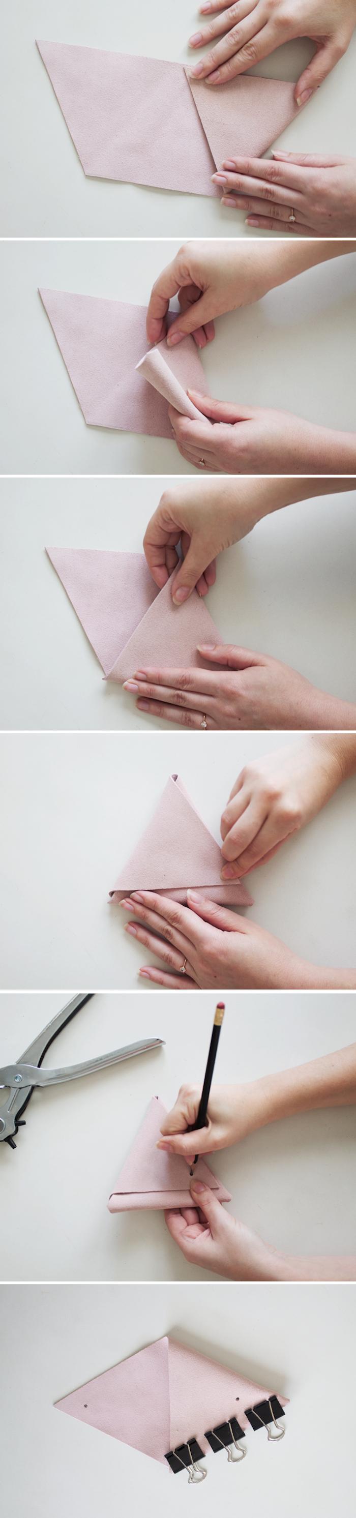 comment faire un porte monnaie simple sans coudre en simili cuir de couleur rose, activité manuelle adulte pour faire cadeau maison