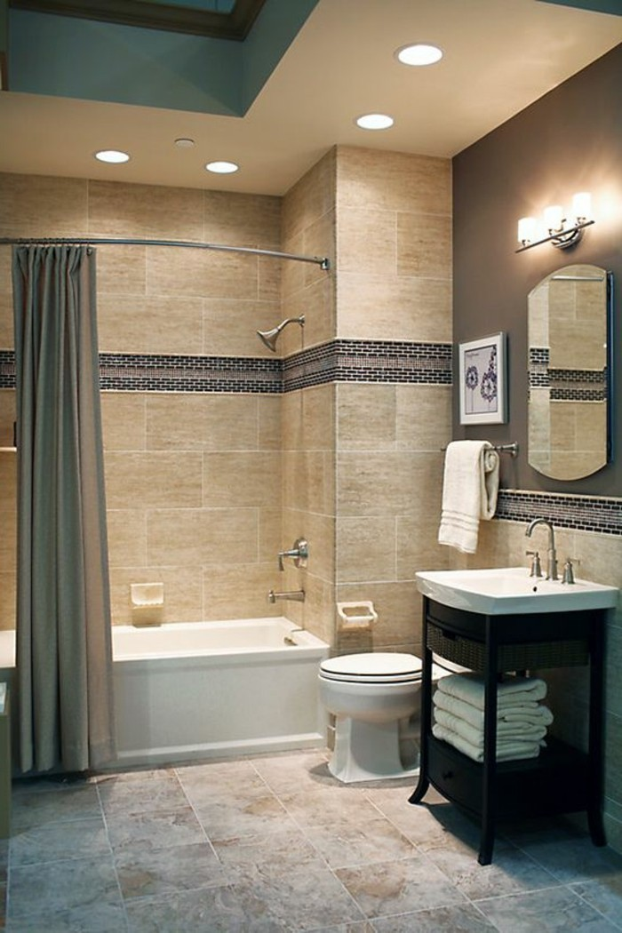 Le carrelage beige pour salle de bain 54 photos de - Carrelage noir brillant salle de bain ...